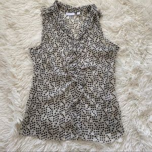 New York and Co Black and White Polka Dot Blouse